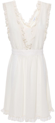 Claudie Pierlot Lace-trimmed Ruffled Crepon Mini Dress