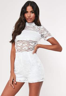 Missguided White Lace High Neck Panel Playsuit