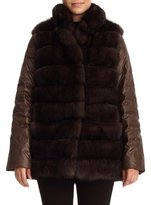 Gorski Reversible Sable Fur Vest & Puffer Jacket, Brown