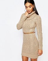 Lipsy Cable Knit Dress with Cowl Neck