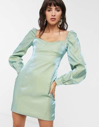 Glamorous mini dress with structured bust in metallic taffeta-Blue