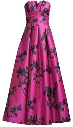 Aidan Mattox Strapless Jacquard Gown