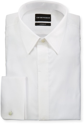 Emporio Armani Men's Modern Fit Basic Tuxedo Shirt with Point Collar & French Cuffs
