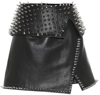 Balmain Studded leather miniskirt