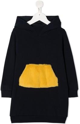 Il Gufo Faux-Fur Pocket Hoodie Dress
