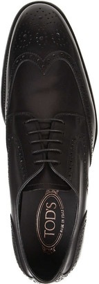 Tod's Perforated brushed-leather Derby shoes