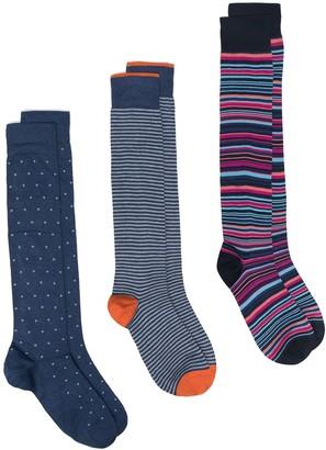 Marcoliani Milano Three-Piece Patterned Sock Set
