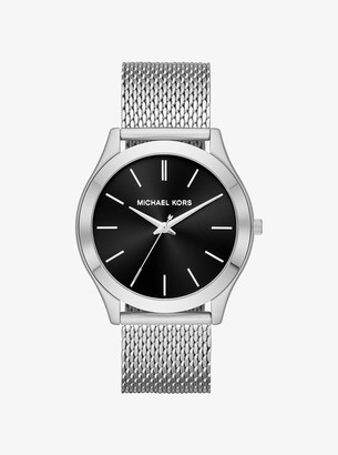 Michael Kors Oversized Slim Runway Silver-Tone Mesh Watch
