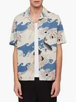 AllSaints Pisces Short Sleeve Slub Shirt, Blue