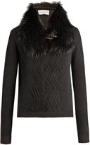 Moncler Detachable fur-collar wool-blend sweater