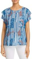 Tolani Aly Patchwork-Print Ruffle Top