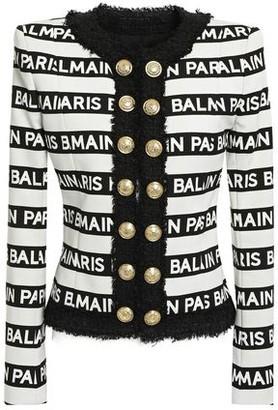 Balmain Button-embellished Logo-print Cotton-blend Canvas Jacket
