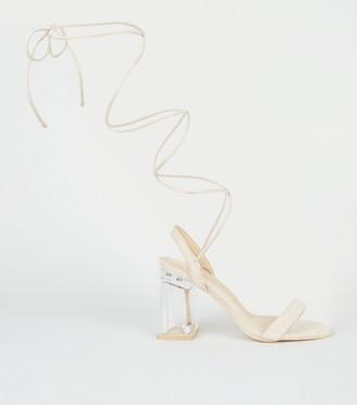 New Look Suedette Ankle Tie Clear Block Heels