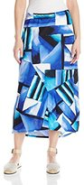 Notations Women's Stripe Ity Spliced Hi Low Maxi Skirt