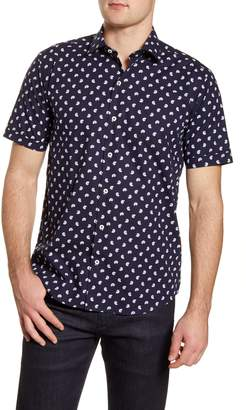 Bugatchi Shaped Fit Short Sleeve Button-Up Shirt