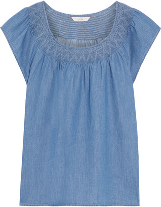 Joie Qwynn Smocked Cotton-chambray Top