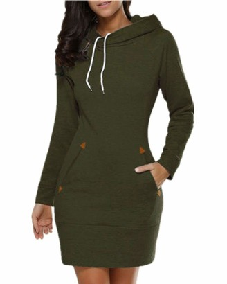 VONDA Women's Long Hoodies Dress Casual Long Sleeve Hooded Jumper Slim Fitted Pullover Sweatshirt with Pockets A-Dark Grey Small