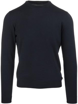Zanone Dark Blue Worsted Wool Man Pullover