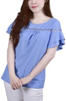 Thumbnail for your product : NY Collection Women's Short Double Flutter Sleeve Swiss Dot Top