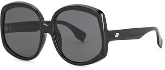Le Specs Illuminaton Black Oversized Sunglasses