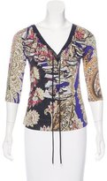 Just Cavalli Jersey Ruffle-Accented Top