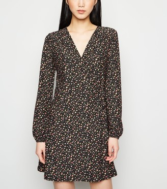 New Look Floral Soft Touch Wrap Mini Dress