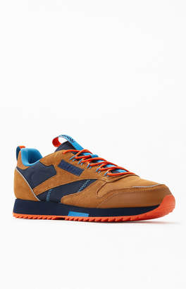 Reebok Brown & Blue CL Leather Ripple Trail Shoes