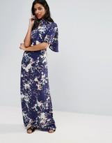 Liquorish Abstract Print Ruffle Sleeve Maxi Dress