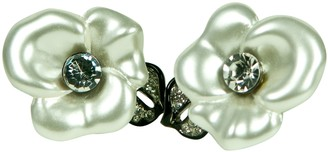 Kenneth Jay Lane Pearlized Flower With Leaf -Clip Earring Cz Accent.