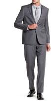 Vince Camuto Charcoal Woven Two Button Notch Lapel Wool Trim Fit Suit