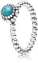 Pandora Ring - Sterling Silver & Turquoise Birthday Blooms December