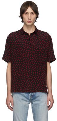 Saint Laurent Black and Red Polka Dot Short Sleeve Shirt