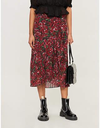 The Kooples Floral-print crepe skirt