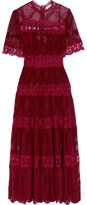 Zimmermann Curacao Lace-trimmed Broderie Anglaise Silk-georgette Midi Dress - Burgundy
