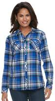 Croft & Barrow Women's Flannel Plaid Button-Down Shirt