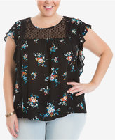 Eyeshadow Trendy Plus Size Flutter-Sleeve Illusion Top