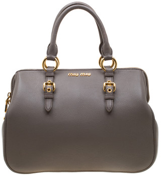 Miu Miu Grey Leather Madras Bowling Bag
