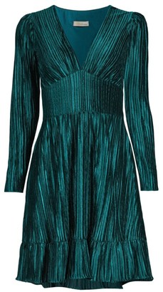 Shoshanna Laine Pleated V-Neck Dress