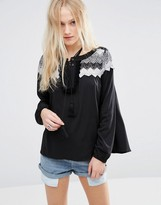 Hazel Crochet Panel Blouse