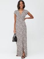 Very Jersey Short Sleeve Wrap Maxi Dress - Animal Print