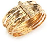 Jacquie Aiche Diamond & 14K Yellow Gold Hammered Bar Ring