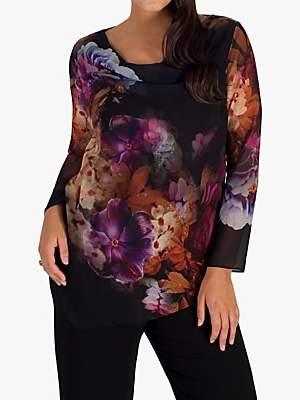 chesca Chesca Floral Print Chiffon Top, Black/Multi