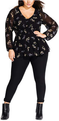 City Chic Trendy Plus Size Gental Floral-Print Peplum Top