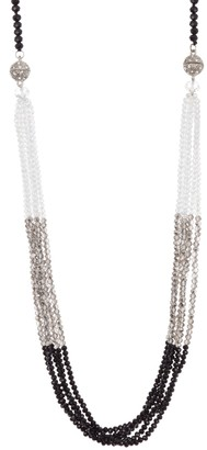 "ADORNIA 38"" Black Spinel and Crystal Multi Strand Transitional Necklace Silver"