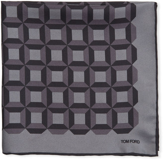 Tom Ford Men's Square-Pattern Silk Pocket Square