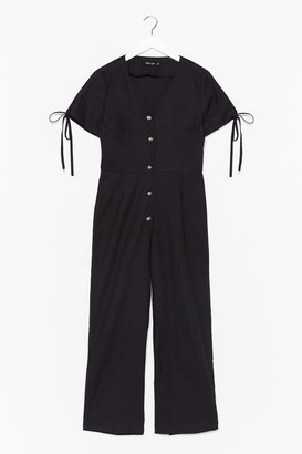 Nasty Gal Womens Stop Look and Linen V-Neck Button-Down Jumpsuit - Black - 6, Black