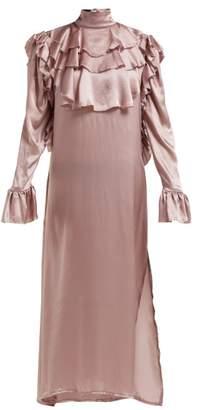 Harris Reed - Ruffle-trim Silk Midi Dress - Womens - Pink