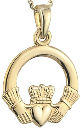 "Solvar Claddagh Pendant with 18"" Chain 14K Gold"