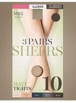 M&S Collection 3 Pair Pack 10 Denier Sheer Matt Tights