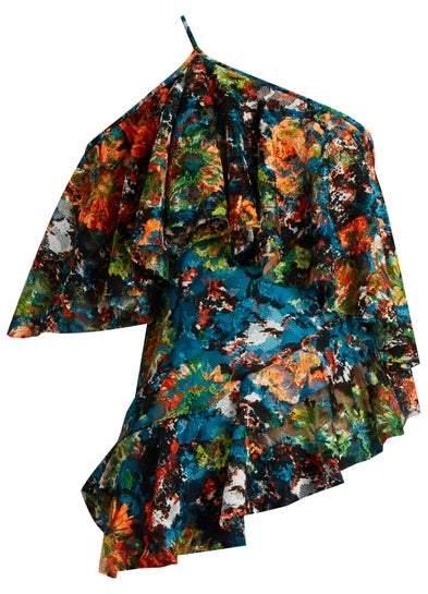 Marques Almeida Marques'almeida - Lace One Shoulder Top - Womens - Orange Multi